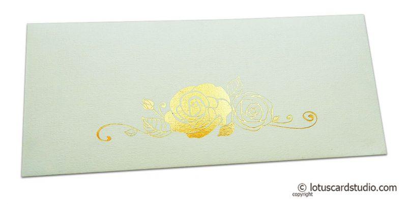 Ivory Money Envelope with Golden Hot Foil Rose