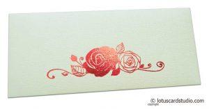 Ivory Money Envelope with Red Hot Foil Rose