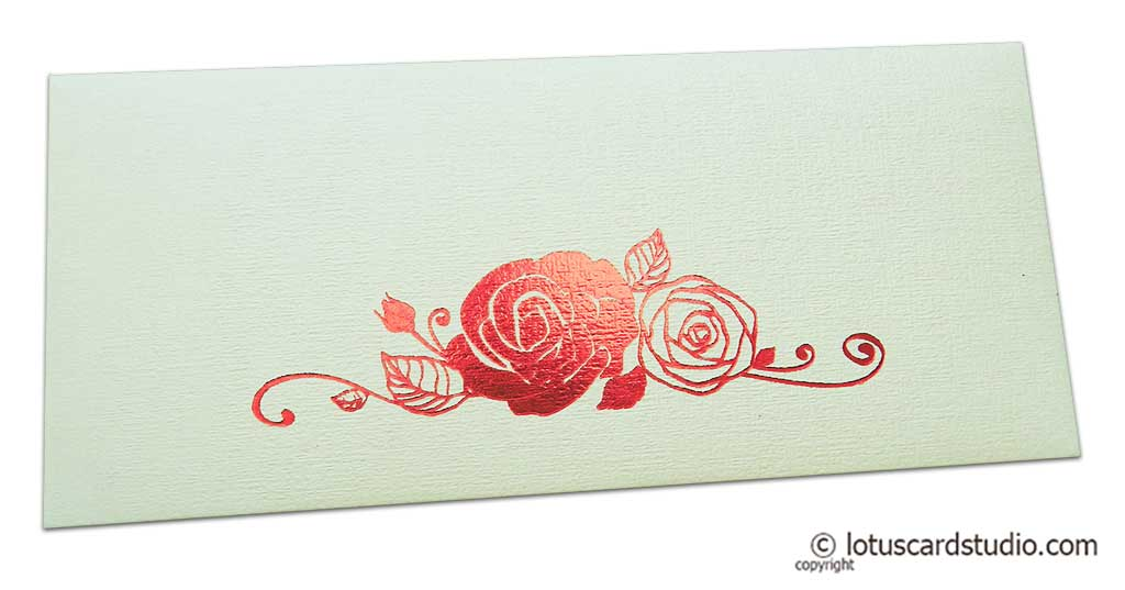 Ivory Money Envelope with Red Hot Foil Rose