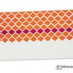 Front view of Ivory and Orange Printed Shagun Envelope