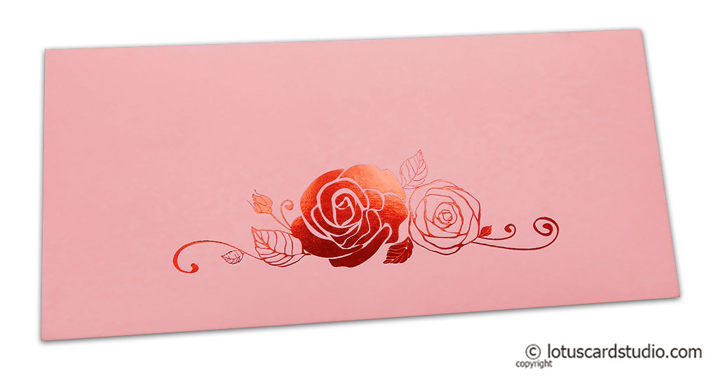 Light Pink Money Envelope with Hot Foil Rose