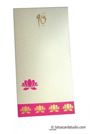 Lotus Theme Shagun Envelope in Pearl Ivory