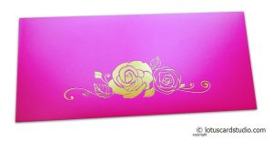 Mexican Pink Money Envelope with Hot Foil Rose