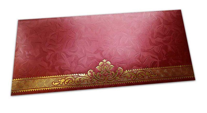 Red Money Envelope with Golden Leaf Printed Floral Border