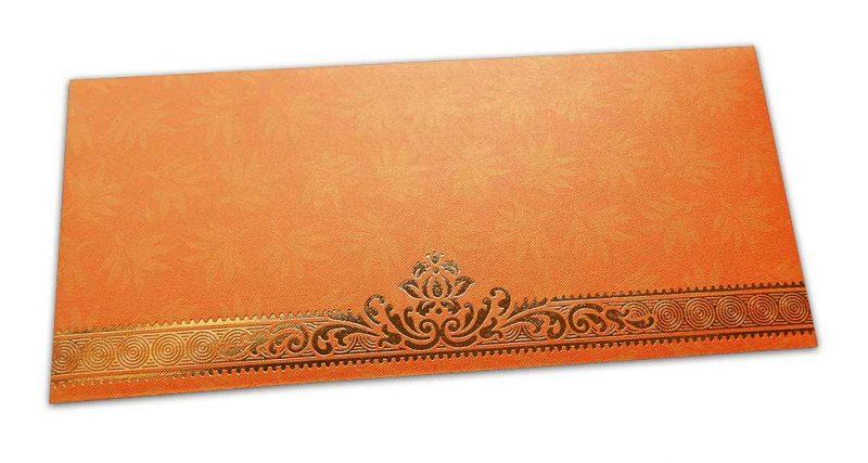 Orange Money Envelope with Flowers and Golden Floral Border