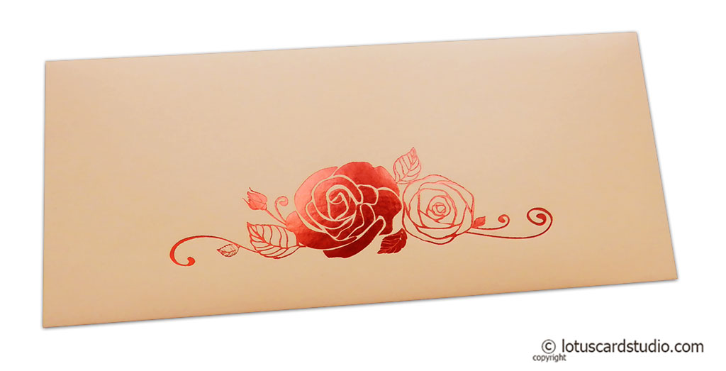 Peach Money Envelope with Red Hot Foil Rose