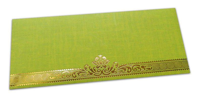Parrot Green Shagun Envelope with Golden Leaf Printed Floral Border