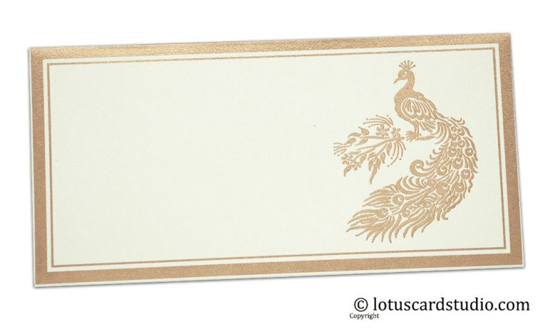 Peacock Printed Money Envelope in Ivory