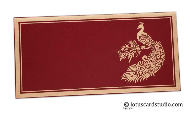 Peacock Printed Money Envelope in Royal Red