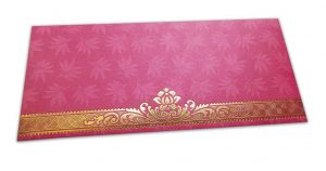 Pink Money Envelope with Flowers and Golden Floral Border