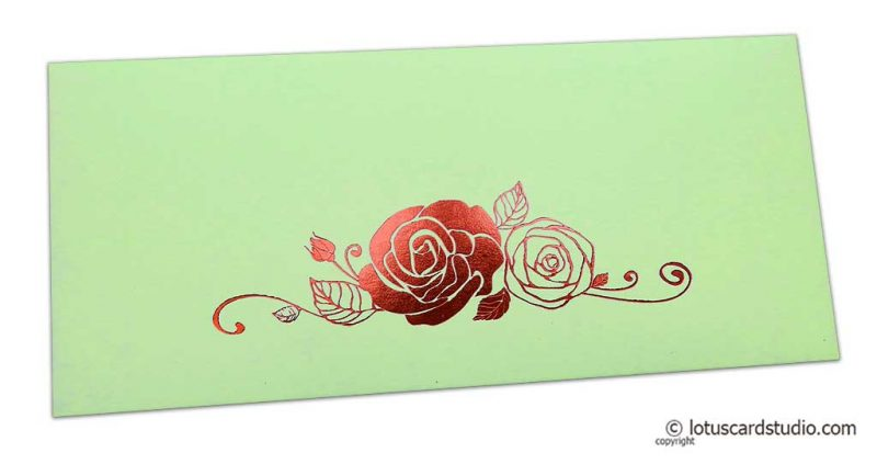 Pistachio Money Envelope with Hot Foil Rose