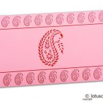 Traditional Red Paisley Print on Light Pink Shagun Envelope
