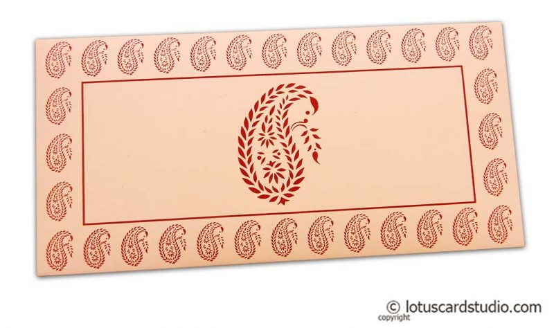Traditional Red Paisley Print on Peach Gift Envelope