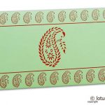 Traditional Red Paisley Print on Pista Green Gift Envelope