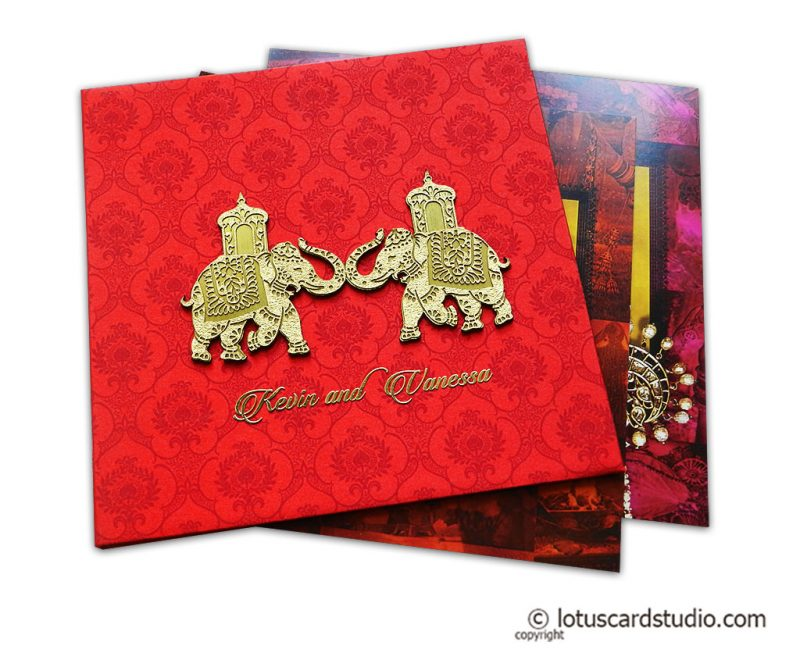 Red Satin Wedding Card with Wooden Golden Laser Cut Elephants
