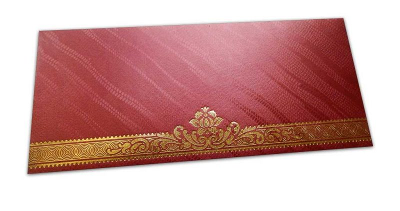 Red Shagun Envelope with Shimmering Lines and Hot Foiled Floral Border