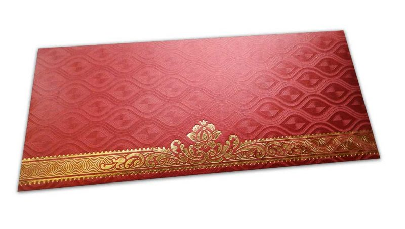Red Shagun Envelope with Shimmering Oval Pattern and Hot Foiled Floral Border