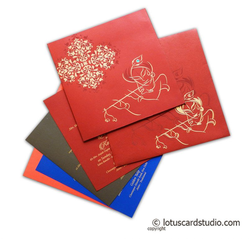 Red Wedding Invitation with Lord Krishna and his Flute