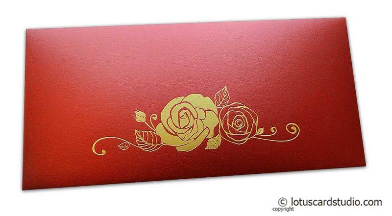 Royal Red Money Envelope with Golden Hot Foil Rose