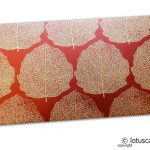 Royal Red Money Envelope with Raised Golden Leaves