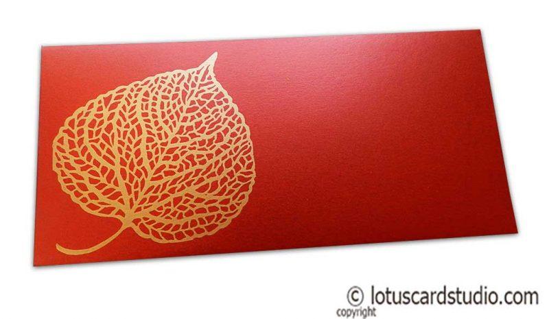 Royal Red Shagun Envelope with Golden Leaf