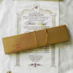 Scroll Wedding Invitation with Golden Box and Ivory Scroll