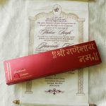 Scroll Wedding Invitation with Royal Red Box and Ivory Scroll