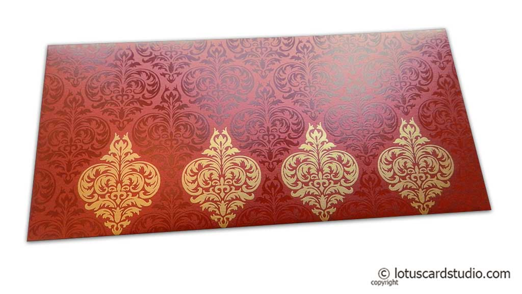 Shagun Envelope in Royal Red with Glossy and Golden Floral Design