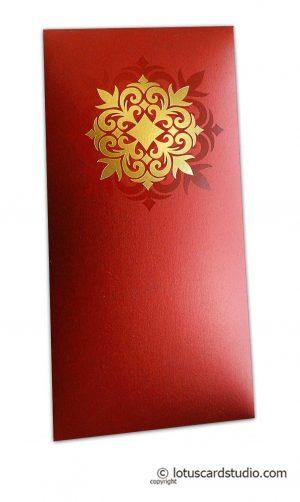 Golden Hot Foil Floral Printed on Royal Red Envelope