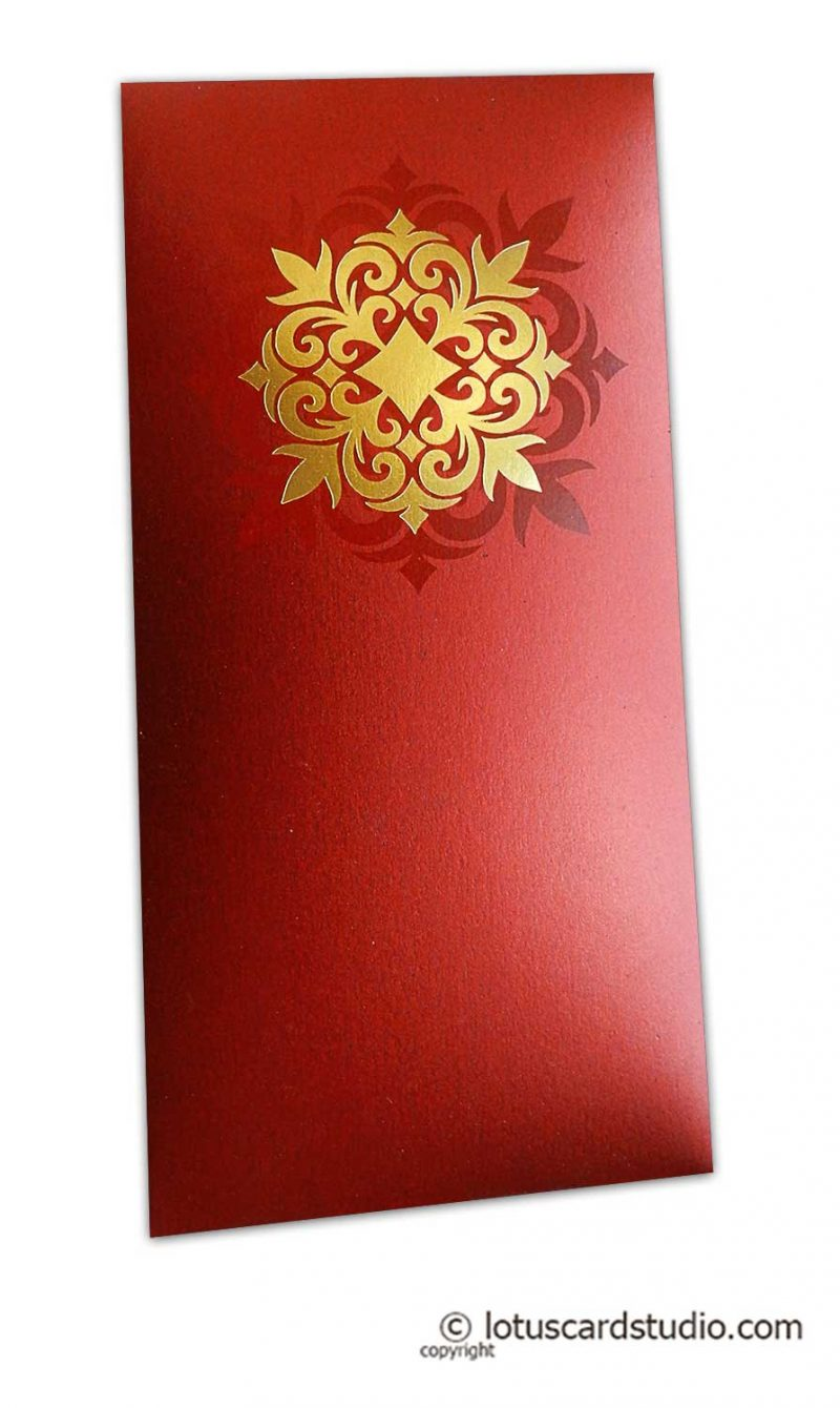 Golden Hot Foil Floral Printed on Royal Red Envelope