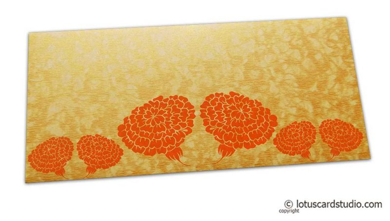 Dahlia Flowers on Golden Shimmer Texture Shagun Envelope