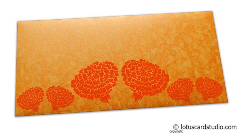 Dahlia Flowers on Yellowish Orange Shimmer Texture Shagun Envelope