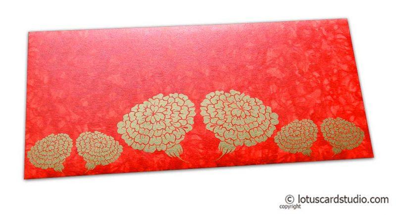 Dahlia Flowers on Red Shimmer Texture Shagun Envelope