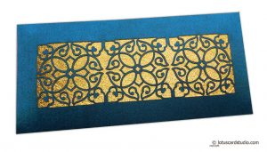 Signature Laser Cut Satin Shagun Envelope in Sapphire Blue