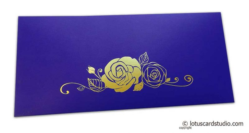 Super Indigo Money Envelope with Hot Foil Rose