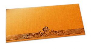 Texture Orange Money Envelope with Hot Foiled Floral Border