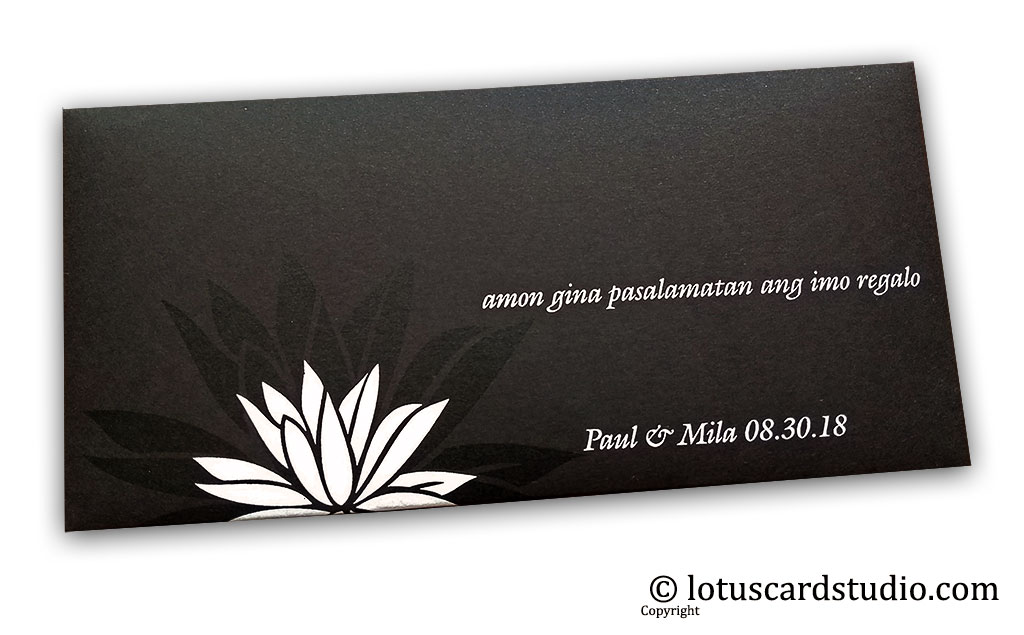 The Black Beauty Lotus Money Gift Envelope with Silk screen printing