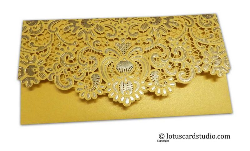 Back view of Gift Shagun in TriFold Laser Cut Indian Money Envelope