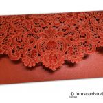 Back view of TriFold Laser Cut Gift Envelope in Red