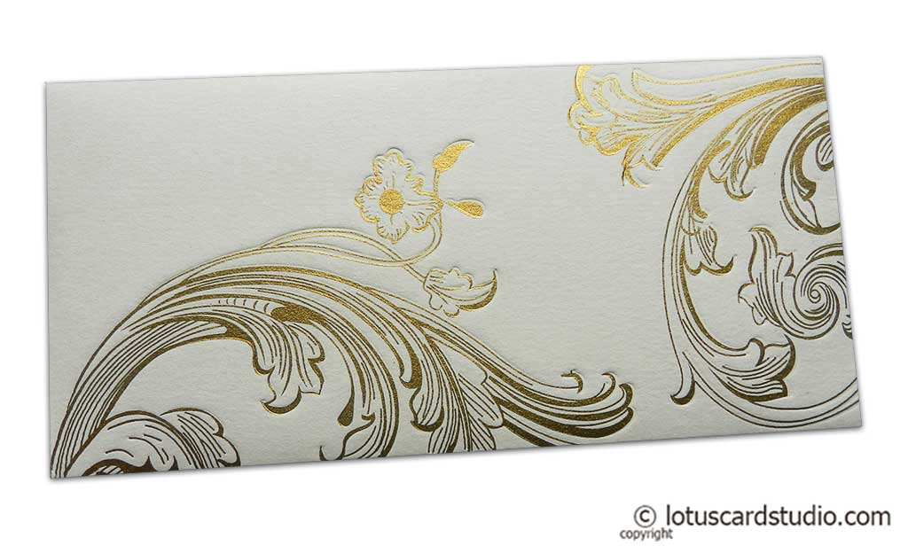 Signature Envelope with Golden Debossed Floral Design