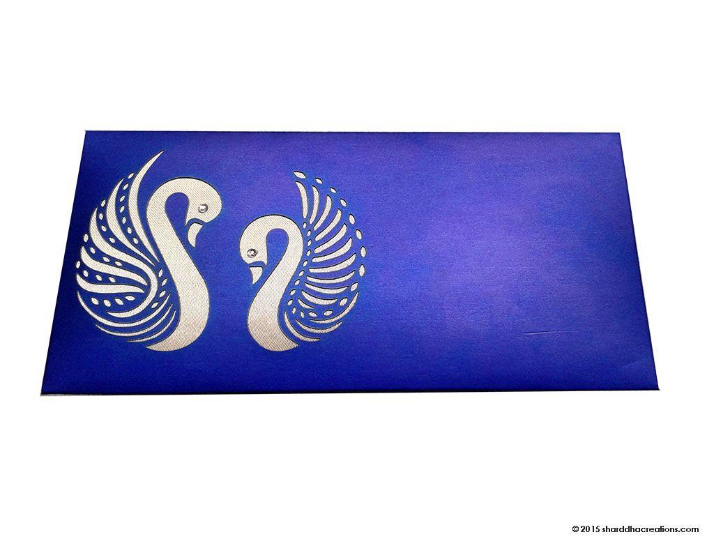 Sapphire Blue Money Envelope with Laser Cut Swans