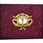 Card front of Rich Purple Velvet Wedding Card