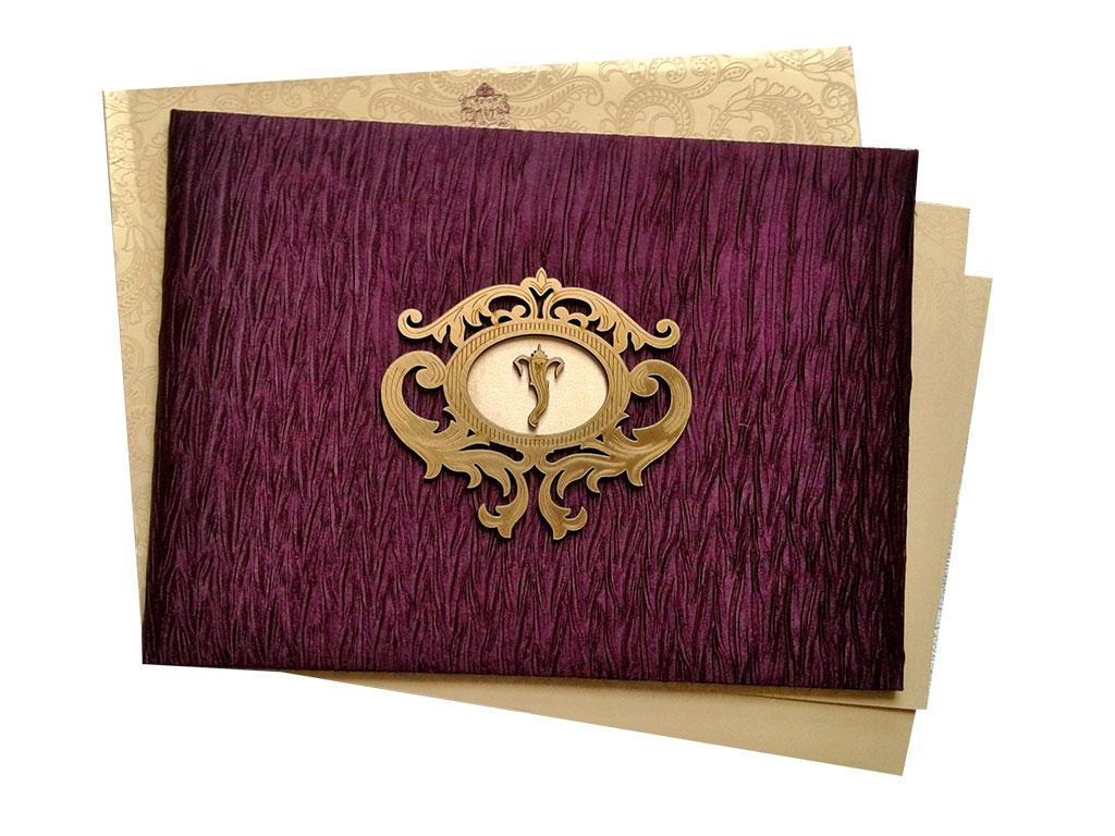 Rich Purple Velvet Wedding Card