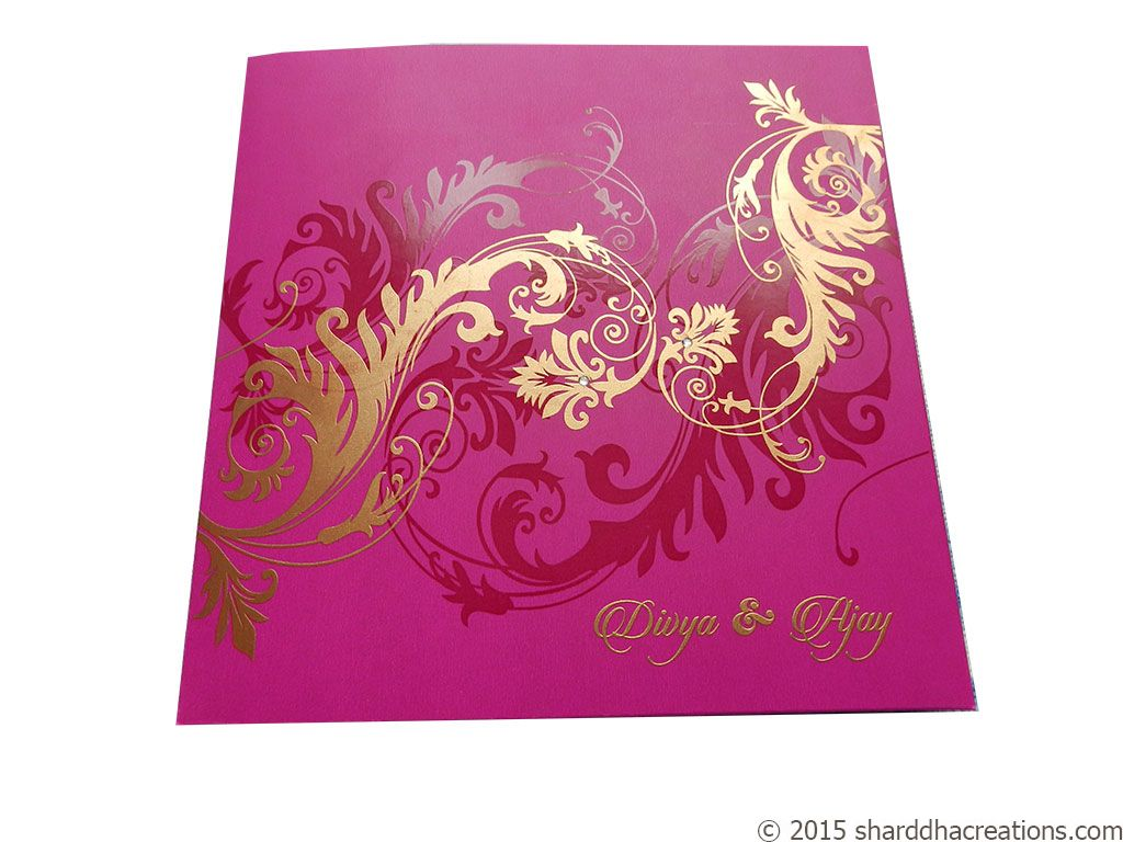Card front of Beautiful Pink Wedding Invitation Card