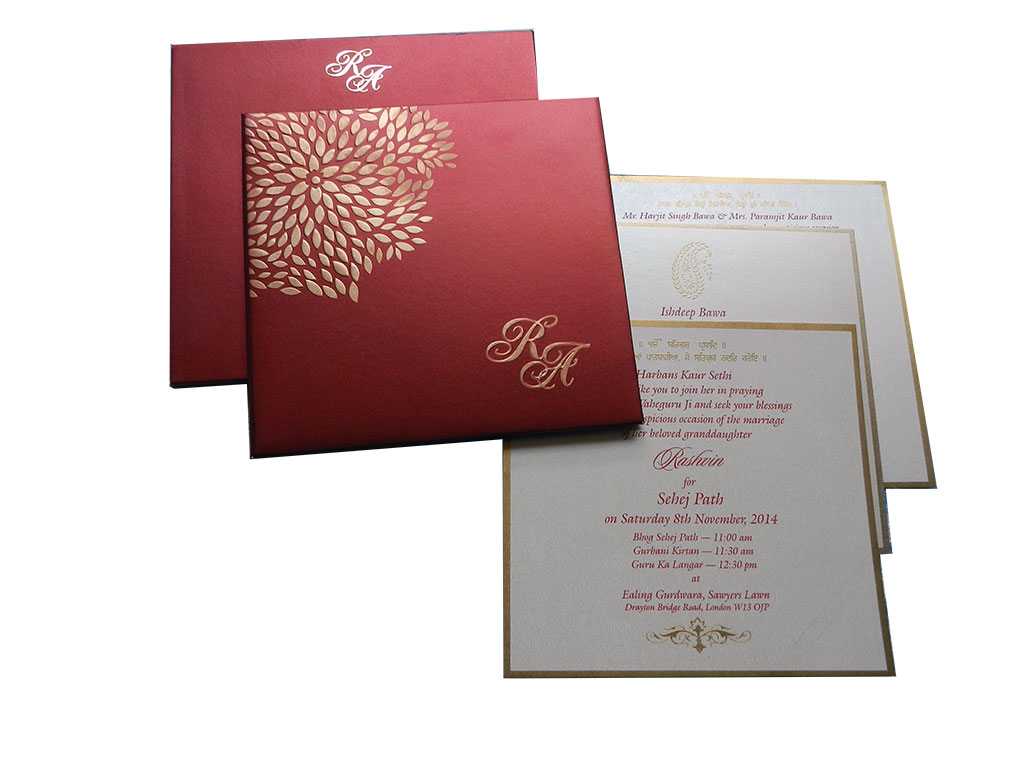 Red Wedding Card with Embossed Golden Leaves