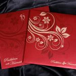 Card of Wedding Card in Royal Red with Golden Floral Design