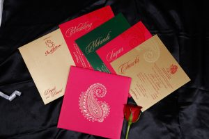 Paisley Design Wedding Invitation in Mexican Pink