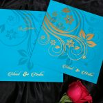 Wedding Invitation in Cyan and Golden Floral Theme