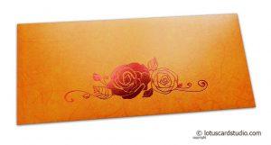 Perfumed Designer Money Envelopes in Orange Yellow with Hot Foil Rose