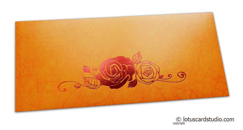 Perfumed Designer Money Envelopes in Orange Yellow with Hot Foil Rose